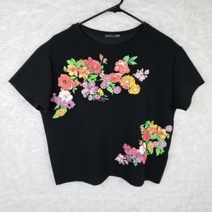 Zara W/B Collection Floral Crop Raw Tee